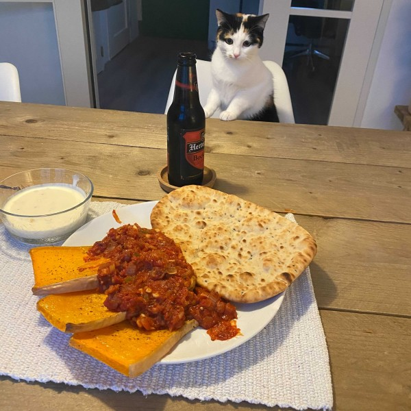 Bart's cat acted as the judge for our company's cook-off.