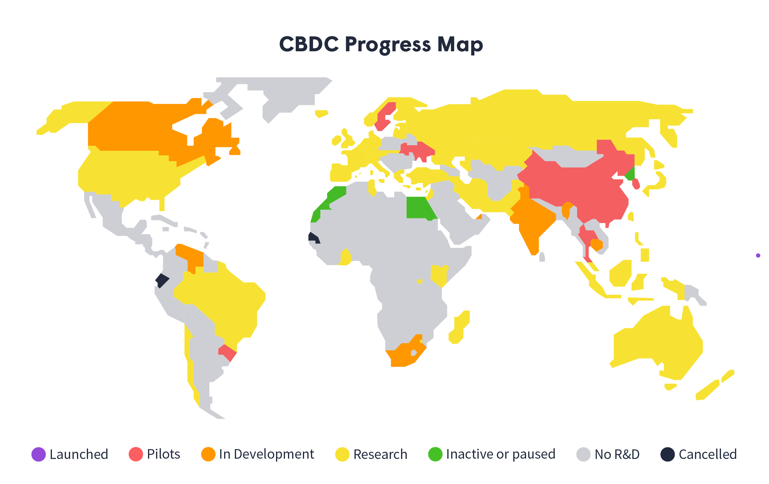 Map of the world showing how far various nations are in the development of their CBDC